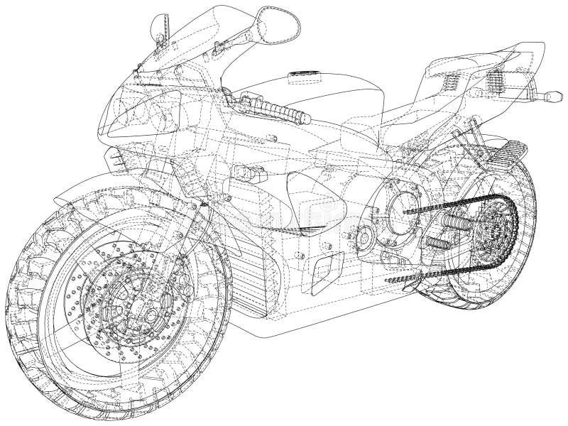 Cavo-struttura tecnica della motocicletta di sport Rappresentazione di vettore di 3d illustrazione di stock