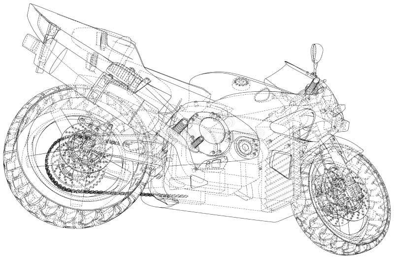 Cavo-struttura tecnica della motocicletta di sport Rappresentazione di vettore di 3d royalty illustrazione gratis