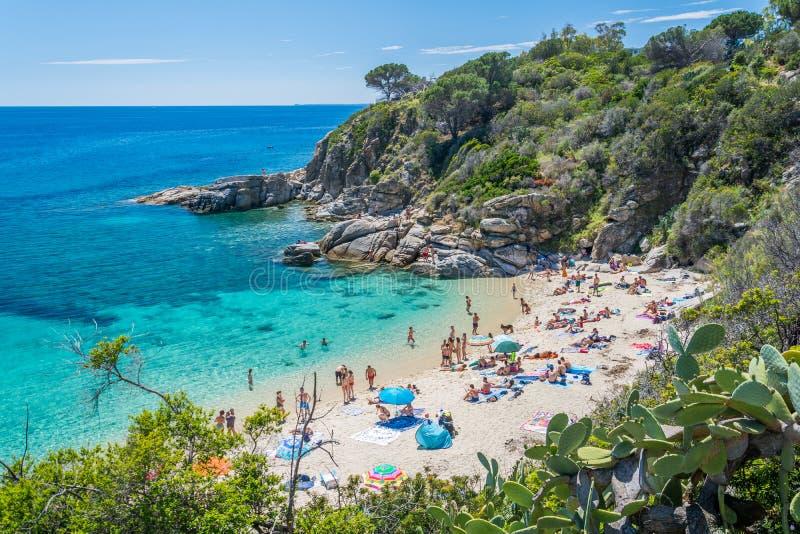 Cavoli海滩风景视域在厄尔巴岛,托斯卡纳,意大利 库存图片