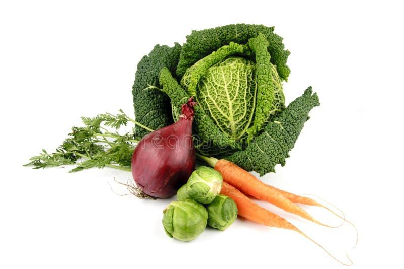 Cavolo con la cipolla rossa, i germogli e le carote immagine stock
