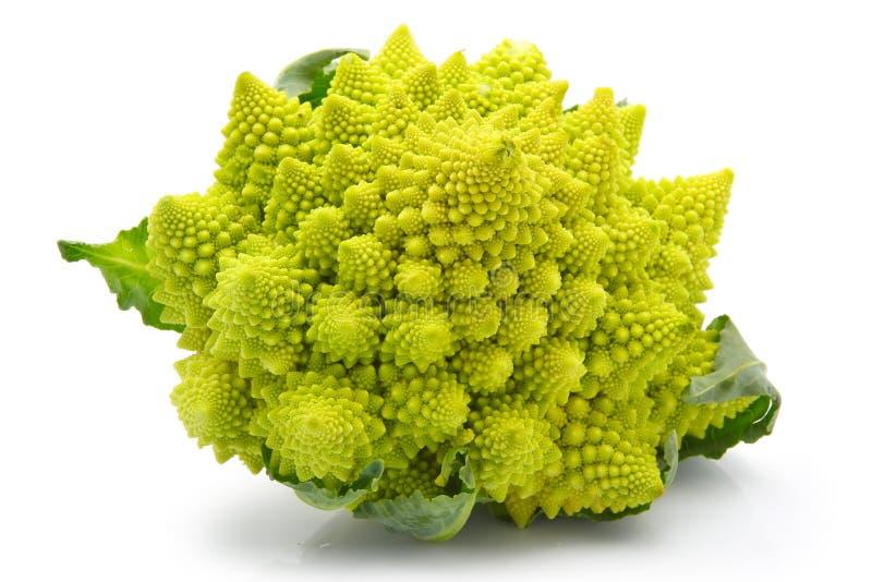 Cavolo del broccolo di Romanesco isolato fotografia stock