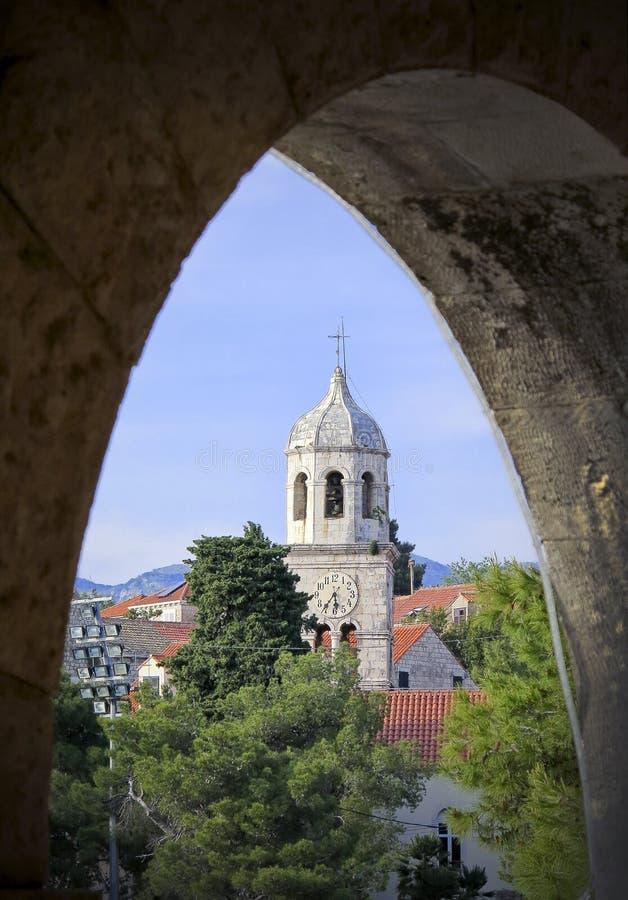 cavtat λιμενικός πύργος της Δαλματίας ρολογιών στοκ φωτογραφία με δικαίωμα ελεύθερης χρήσης