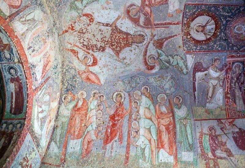 Cavusin教会在卡帕多细亚,土耳其 库存照片