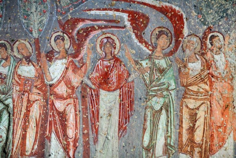 Cavusin教会在卡帕多细亚,土耳其 免版税库存照片