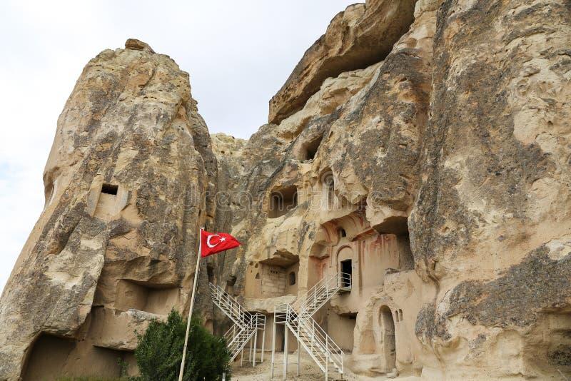 Cavusin教会在卡帕多细亚,土耳其 库存图片