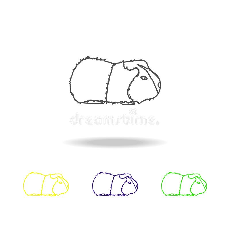 cavy, ícones coloridos do esboço do roedor Elemento da ilustração dos roedores Os sinais e os símbolos esboçam o ícone para Web s ilustração stock