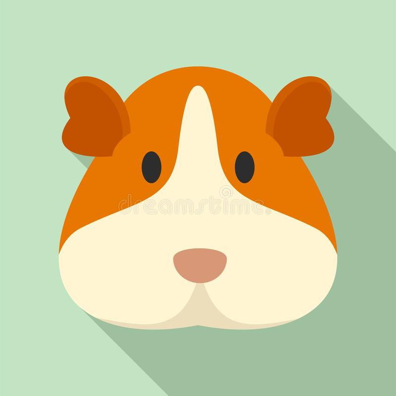 Cavy face icon, flat style royalty free illustration
