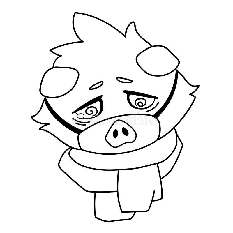 Cavy triste en la máscara y la bufanda médicas - enfermedad del icono del emoji libre illustration