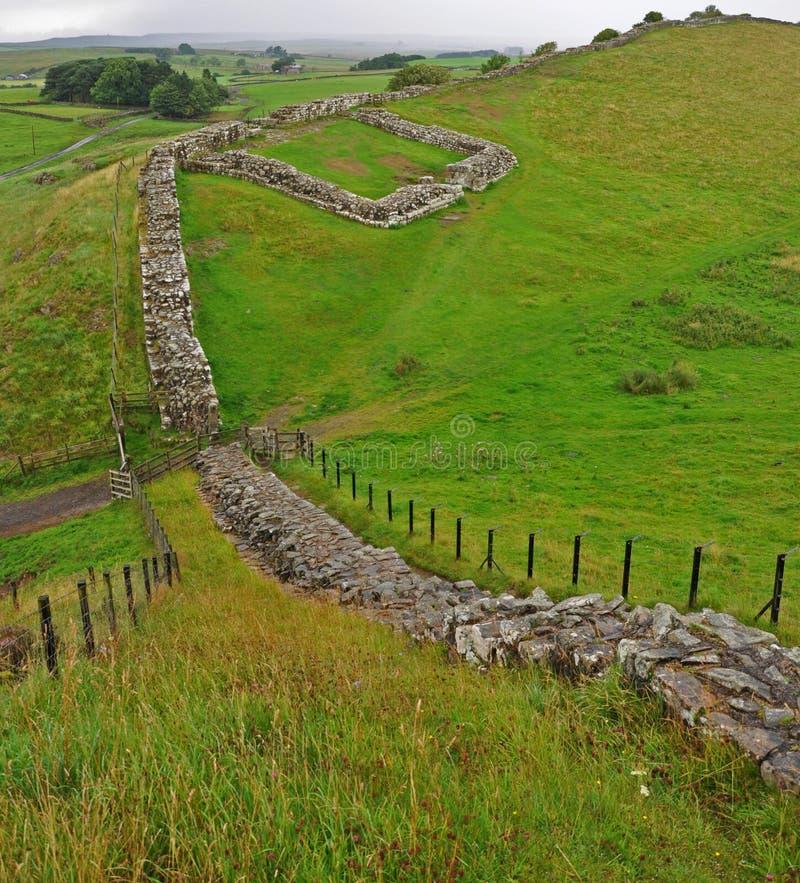 Cawfields Milecastle, Hadrians Wand stockfotos