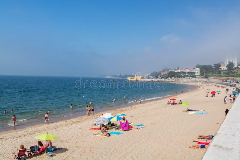 Caxias海滩在Caxias,葡萄牙 免版税库存图片