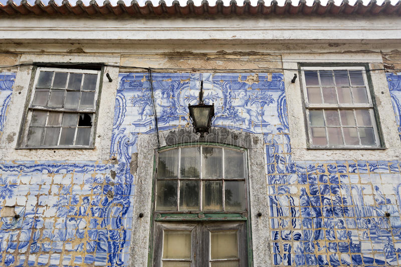 Caxias Royal Palace I. Detail of the ruined facade wall of the 18th century Royal Palace of Caxias, Portugal royalty free stock photography