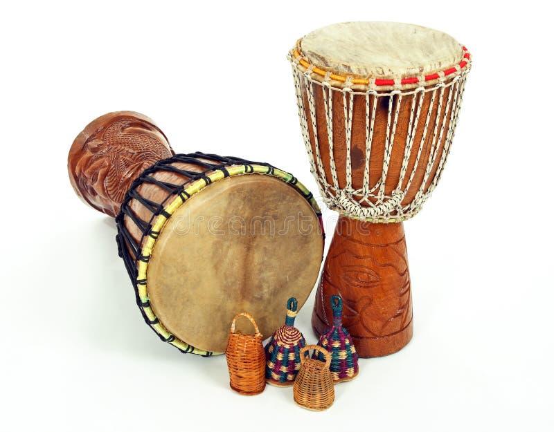 caxixidjembe drums shakers arkivbilder
