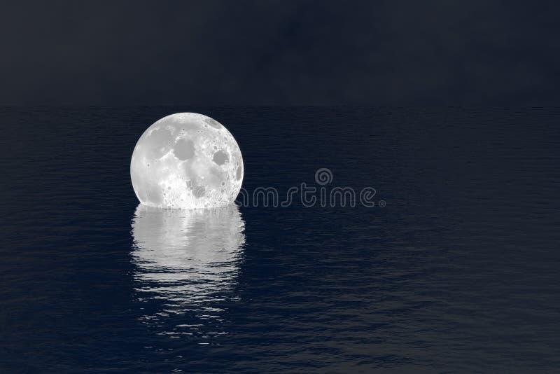 Cayó la luna sobre fondo de la escena de la noche del agua fotografía de archivo libre de regalías