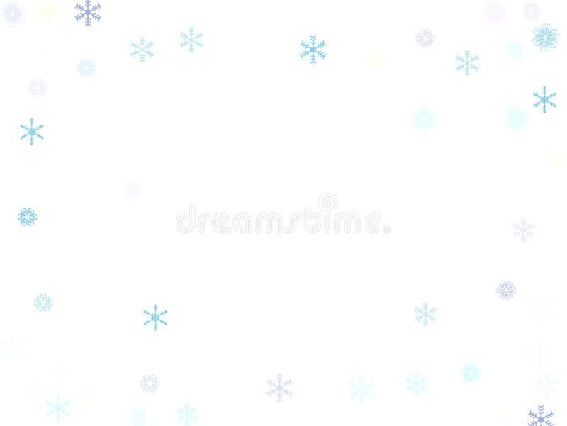 Cayendo abajo confeti de la nieve, frontera del vector del copo de nieve Invierno festivo, la Navidad, fondo de la venta del Año  stock de ilustración
