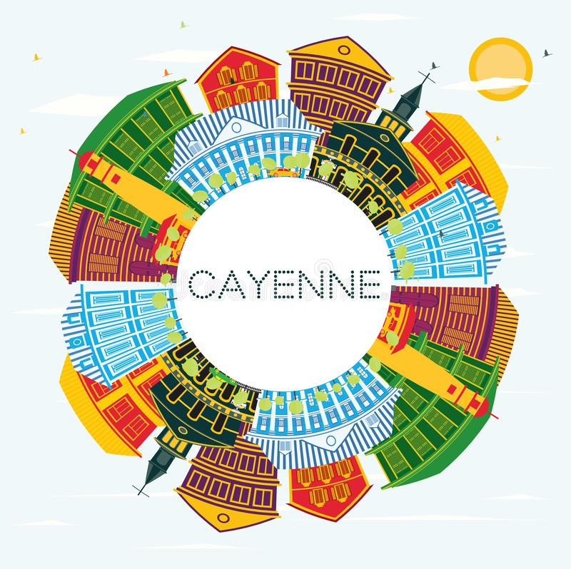 Cayenne Franska Guyana stadshorisont med färgbyggnader och kopieringsutrymme royaltyfri illustrationer