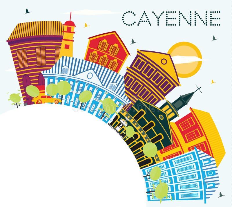 Cayenne Franska Guyana stadshorisont med färgbyggnader och kopieringsutrymme stock illustrationer
