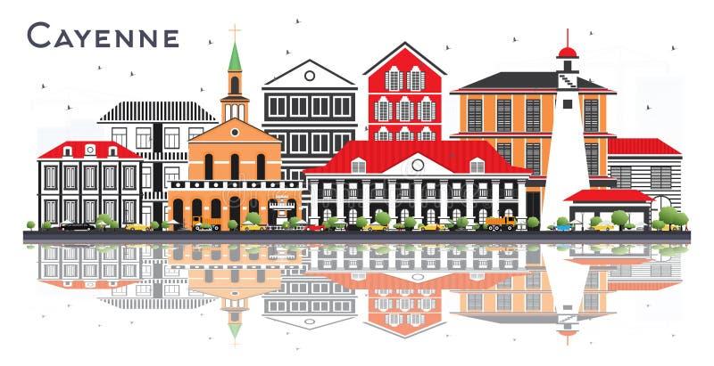 Cayenne Franska Guyana stadshorisont med färgbyggnader och reflexioner som isoleras på vit royaltyfri illustrationer