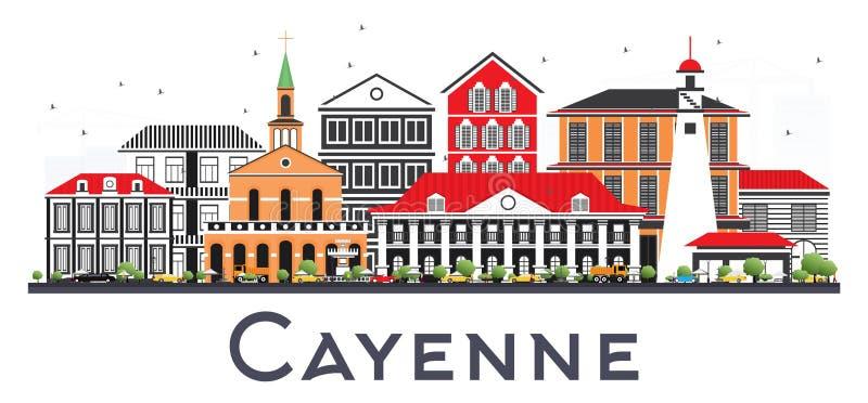 Cayenne Franska Guyana stadshorisont med färgbyggnader som isoleras på vit vektor illustrationer