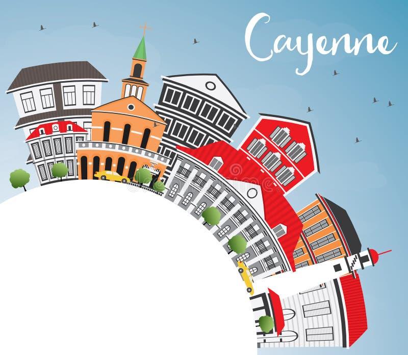 Cayenne horisont med färgbyggnader, blå himmel och kopieringsutrymme vektor illustrationer
