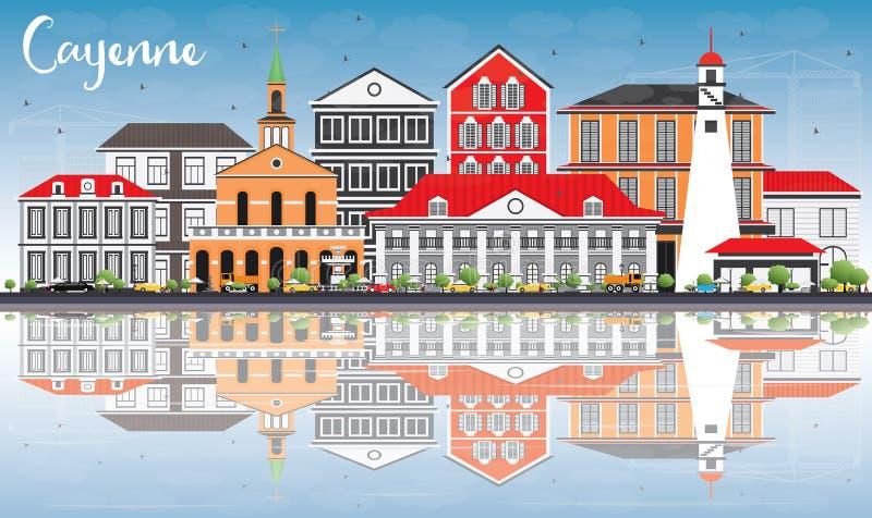 Cayenne horisont med färgbyggnader, blå himmel och reflexioner vektor illustrationer