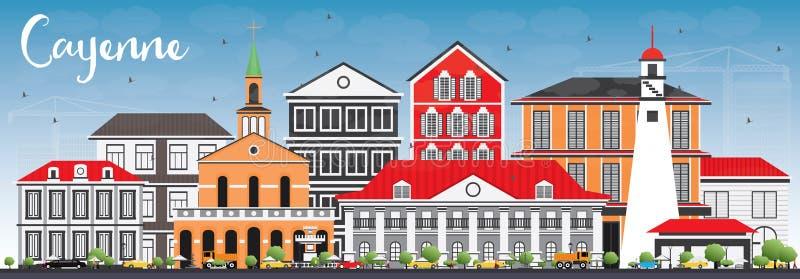 Cayenne horisont med färgbyggnader och blå himmel royaltyfri illustrationer