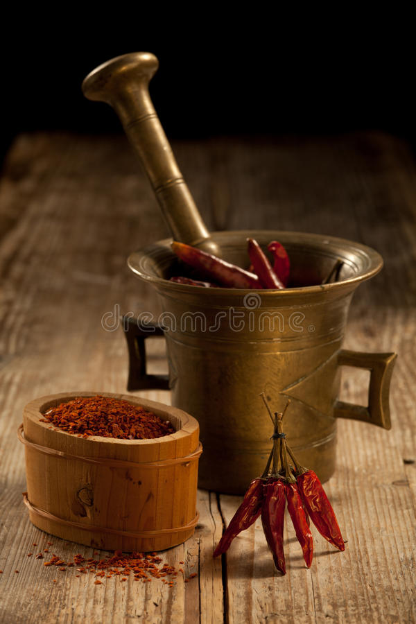 Free Cayenne Pods In Pounder And Milled Pepper Royalty Free Stock Photos - 17030298