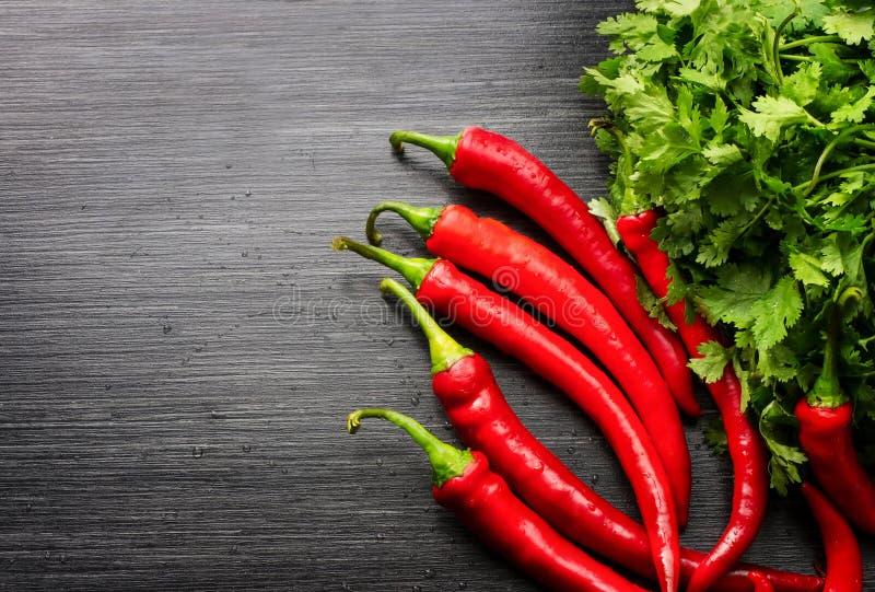 Cayenne rouge poivre le poivron annuum et le feuillage sur la table en bois Vue sup?rieure images libres de droits