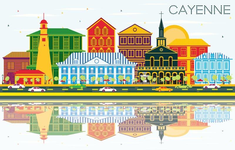 Cayenne stadshorisont med färgbyggnader, blå himmel och Reflecti royaltyfri illustrationer