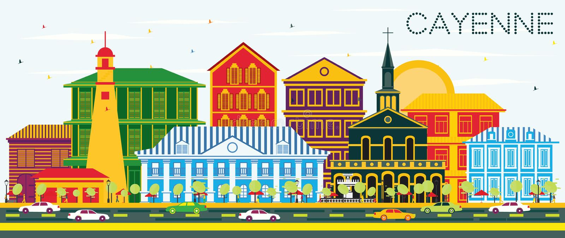 Cayenne stadshorisont med färgbyggnader och blå himmel stock illustrationer