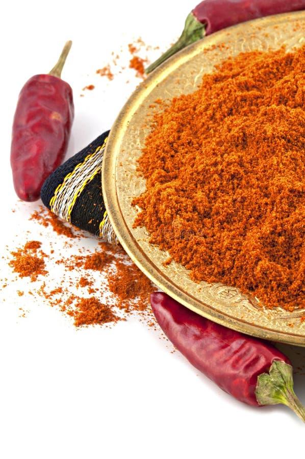 Cayenne torkade isolerade peppar och pulver royaltyfri foto