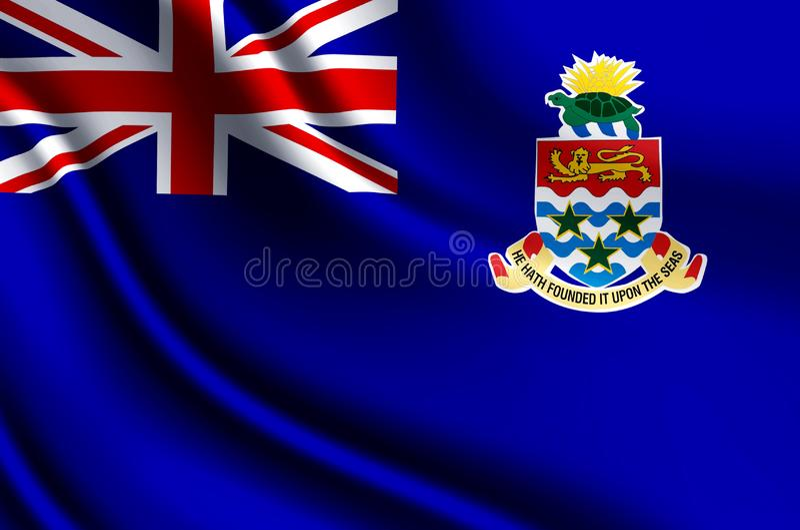 Caymanöarna realistisk flaggaillustration stock illustrationer