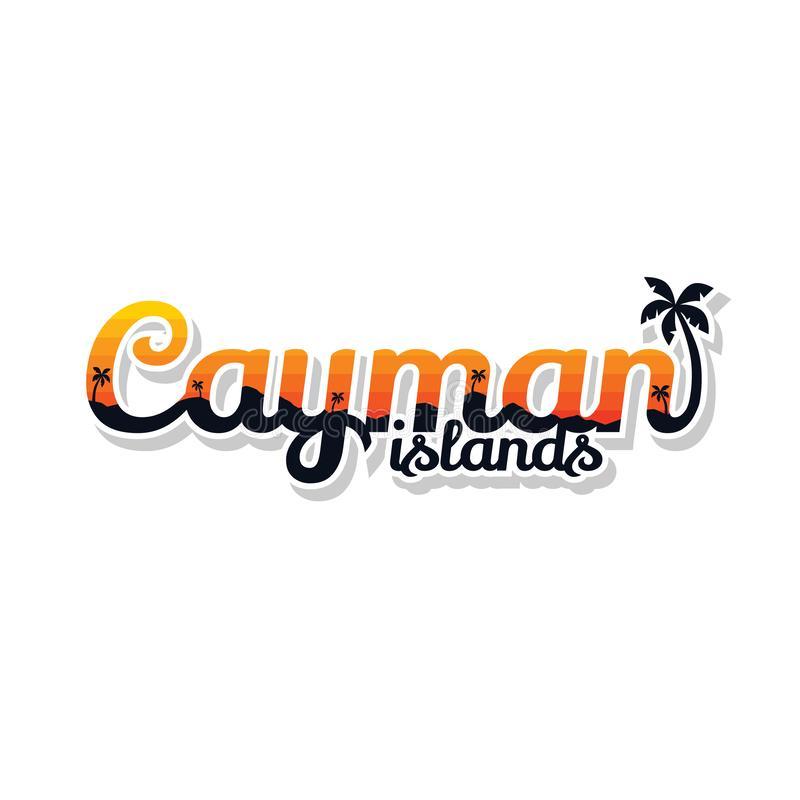 Caymanöarna sommar semestrar vektorn för strandteckensymbolet vektor illustrationer