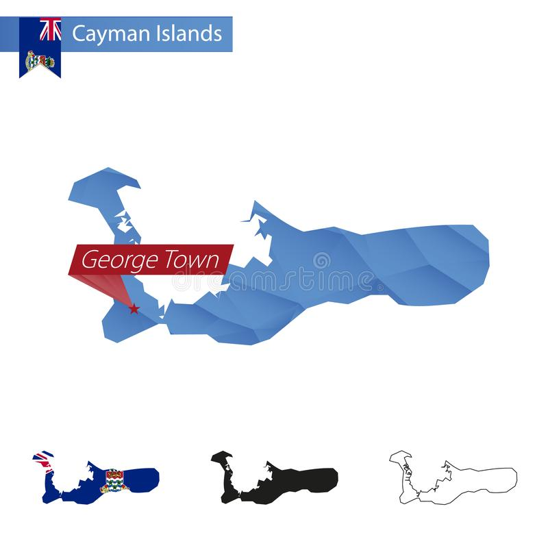 Cayman Islands blue Low Poly map with capital George Town vector illustration
