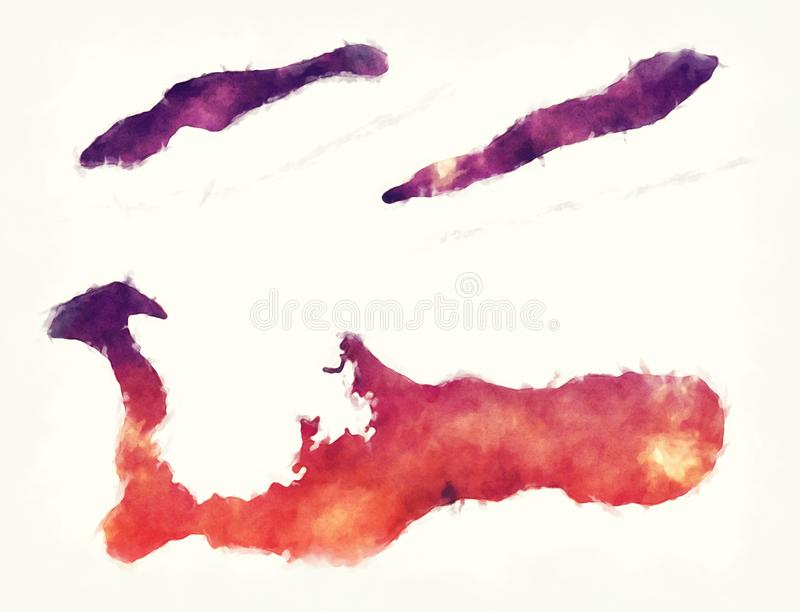 Cayman Islands watercolor map in front of a white background royalty free illustration