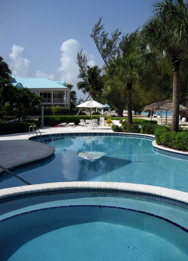 Cayman Pool. Pool and hot tub in a Cayman Islands Resort stock photo