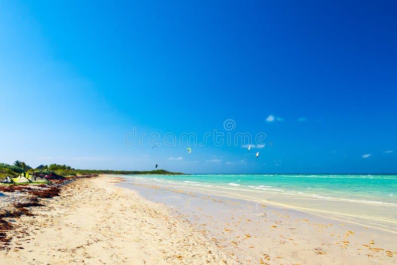 Cayo吉列尔莫,古巴- 2012年3月25日:运动员冲浪者介入 免版税库存图片