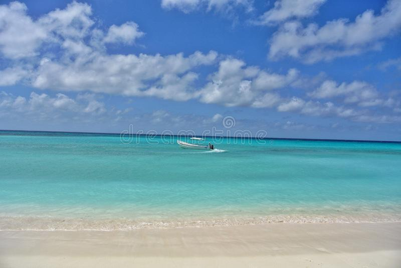 Cayo de agua, los roques venezuela. Perfect blue turquoise water with awesome white sand stock image