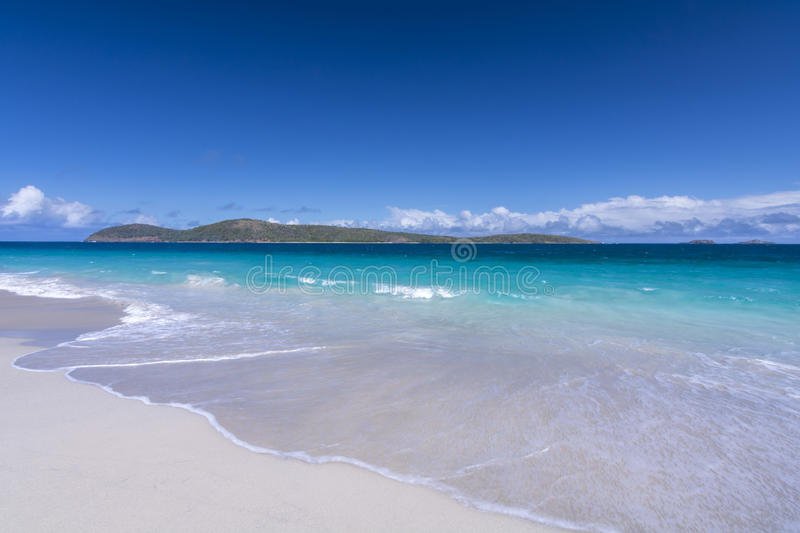Cayo Norte of Isla Culebra. Cayo Norte on a beautiful clear day as seen from sandy Zoni Beach on Isla Culebra, Puerto Rico stock images