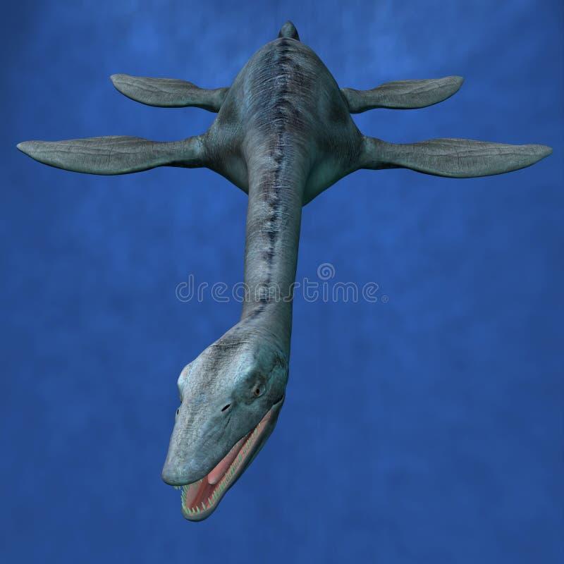 Caza de Elasmosaurus- ilustración del vector