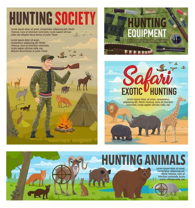 Caza de la temporada de caza, animales salvajes del safari africano stock de ilustración