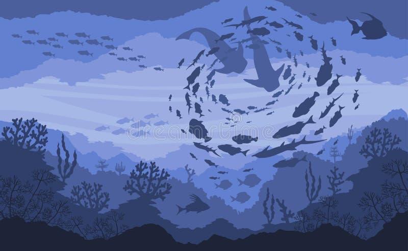 Caza del arrecife de coral y del tiburón, fauna subacuática en fondo azul del mar stock de ilustración
