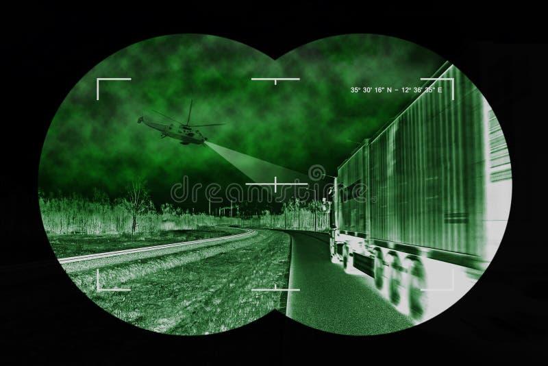 Caza del camión - visión desde el nightvision imágenes de archivo libres de regalías
