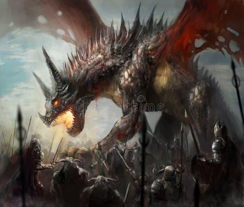 Caza del dragón ilustración del vector
