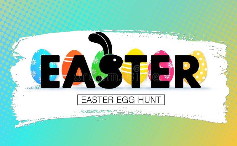 Caza del huevo de Pascua Bandera del día de fiesta con los huevos ilustración del vector