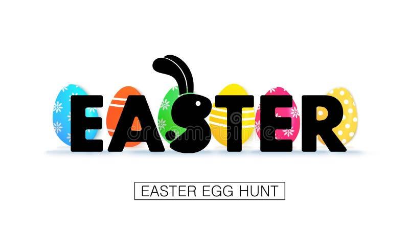 Caza del huevo de Pascua Bandera del día de fiesta con los huevos stock de ilustración