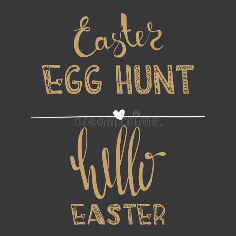 Caza del huevo de Pascua Hola pascua Modelo simple con el texto de las letras Negro del día de fiesta de Pascua y fondo del oro p ilustración del vector
