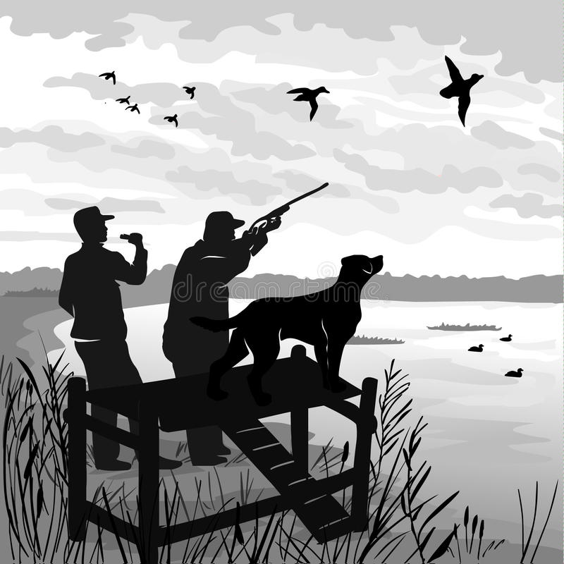 Caza del pato con el perro El cazador tira un arma en los patos El cazador llama patos de la trampa Persiga las esperas para que  stock de ilustración