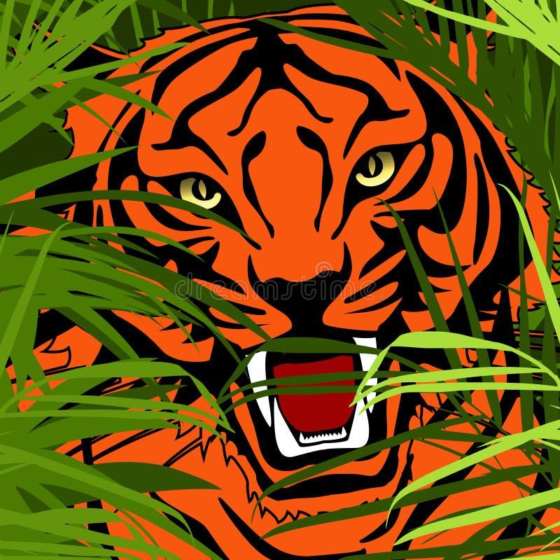 Caza del tigre en selva ilustración del vector