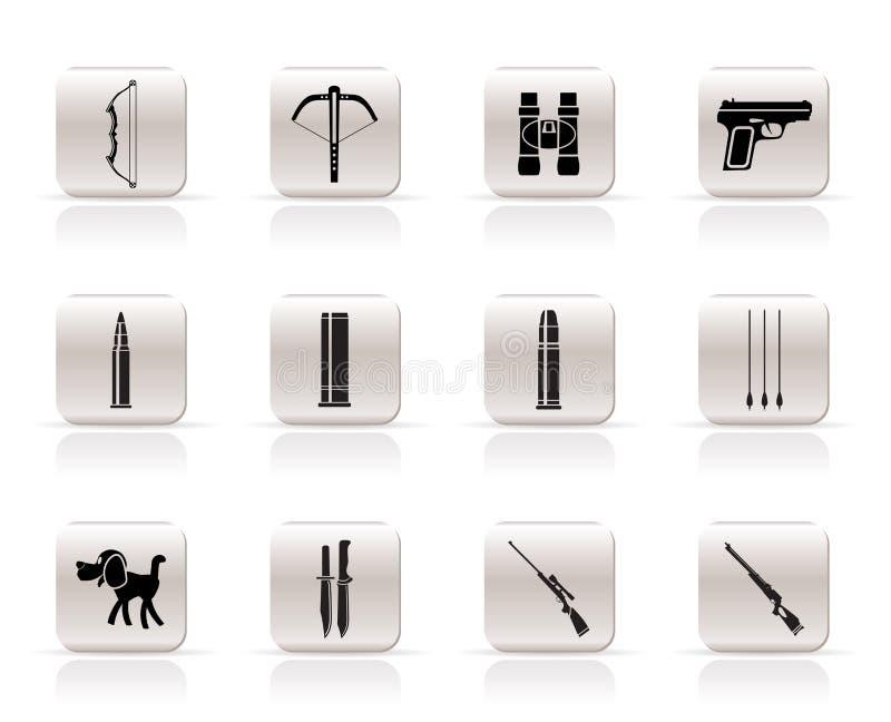 Caza e iconos de los brazos stock de ilustración