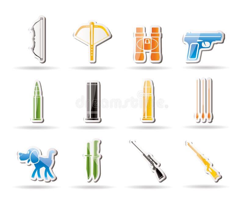 Caza e iconos de los brazos ilustración del vector